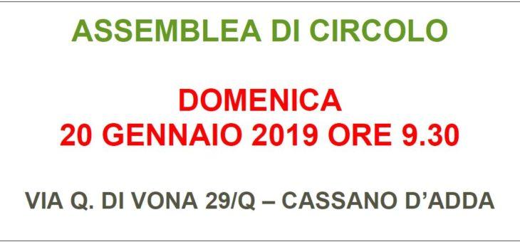 Assemblea di Circolo: Domenica 20 Gennaio 2019 ore 9:30